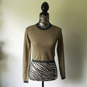 Zara cropped 70's style long sleeve knit top